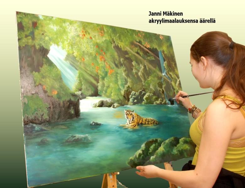 Janni Mäkinen tekee akryylimaalausta Lieto-opistossa