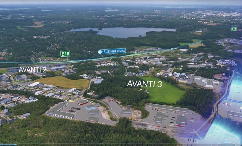Ilmakuva Avantin yritysalueesta ja sijainnista E18 tien varrella. Matka Helsinkiin kestää 105 min.Helsinkiin