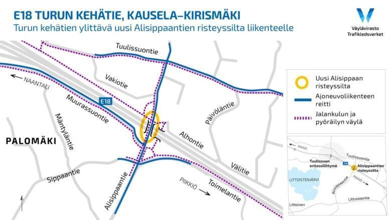 Kartta Alisippaantien uusista liikennejärjestelyistä.